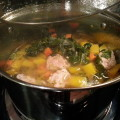 turkey meat balls collard green soup