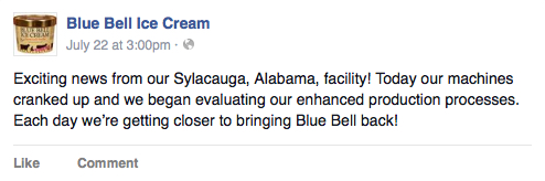 When is Blue Bell coming back?